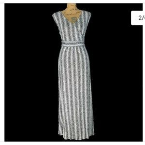 Talbots Navy & White Chevron stripes Maxi Dress